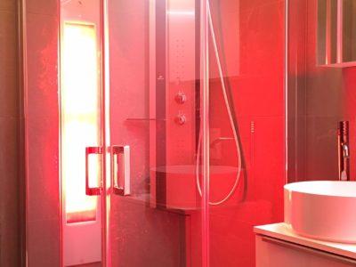 inloopdouche met deur en infrarood